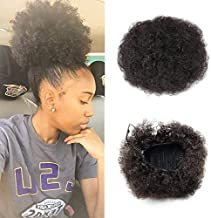 VGTE Beauty Synthetic Curly Hair Ponytail African American Short Afro Kinky Curly Wrap Synthetic Drawstring Puff Ponytail Hair Extensions Wig with Clips (#2,Medium)