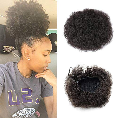 VGTE Synthetic Curly Hair Ponytail African American Short Afro Kinky Curly Wrap Synthetic Drawstring Puff Ponytail Hair Extensions Wig with Clips