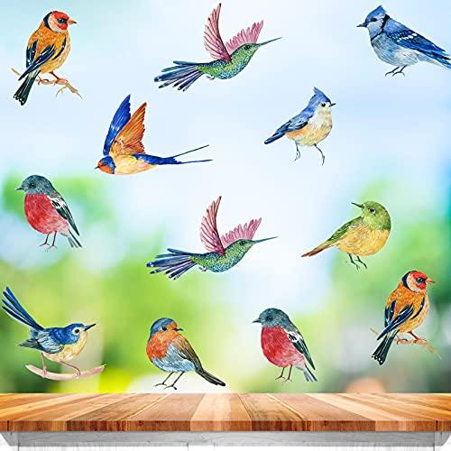 23 pcs Pájaros Etiqueta de la Pared,Pegatinas Anticolisión para Ventanas para la Decoración de la Pared y el Fondo de Vidrio de la Sala de Estar,Calcomanía de Vinilo Extraíble