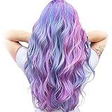 STfantasy Pelucas mujer pelo natural largo rizado con flequillo colores rosa azul púrpura sintético unicornio peluca carnaval halloween fiesta de disfraces Cosplay