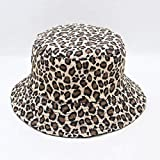 DWXWMZ Flache Schirmmütze 1PCs Leopard Print Bucket Hat Fisherman Hat Outdoor Travel Hat Sun Cap...