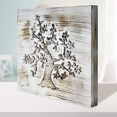 Cuadro Mandala de Pared - árbol de la Vida Calada, Fabricada artesanalmente en España- Mandala 3D Cuadrada Pintada a Mano- Modelo Mosaico 212 (Blanco Envejecido, 50x50 cm)