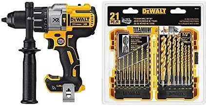 DEWALT DCD997B 20V MAX XR Tool Connect Hammerdrill Kit (Tool Only) with DEWALT DW1361 Titanium Pilot Point Drill Bit Set, 21-Piece