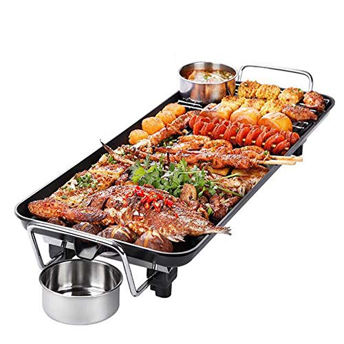 DZSF Teppanyaki Electric Grill Plate | Large Non-Stick Tabletop Griddle with 48cm x 27cm Hot Plate & Adjustable Temperature