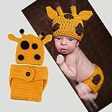 Primi 1pieza Set de agujas de ganchillo (de punto para bebé de lana de bonito hecho a mano jirafa tema foto Prop (amarillo)