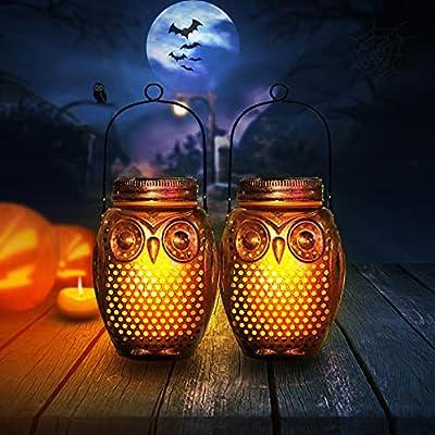 Amazon - 50% Off on 2 Pack Ostritec Solar Mason Jar Lights Outdoor,Owl Halloween Lights Decor