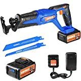 SORAKO Cordless Reciprocating Saw 20V with 4.0Ah Battery, 20mm Stroke Length, 0-3000SPM Variable Speed, Powerful Reciprocating Saw with 2 Blades for Wood & Metal Cutting
