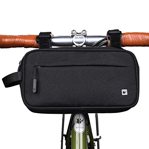 Rhinowalk Bike Bag,Exercise Bike Handlebar Bag Waterproof Multifunctional Messenger Bag Frame Front Accessories Black