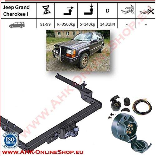 AHK Anhängerkupplung mit Elektrosatz 7 polig für Jeep Grand Cherokee 1992-1999 Anhängevorrichtung Hängevorrichtung - starr, mit angeschraubtem Kugelkopf