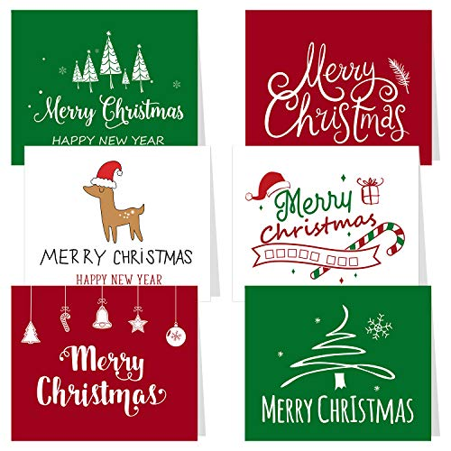 Price comparison product image CHRORINE 30 Pcs Christmas Greeting Cards with Envelopes Xmas Note Cards 6 Merry Christmas Festive Designs Winter Holiday Xmas Greeting Cards