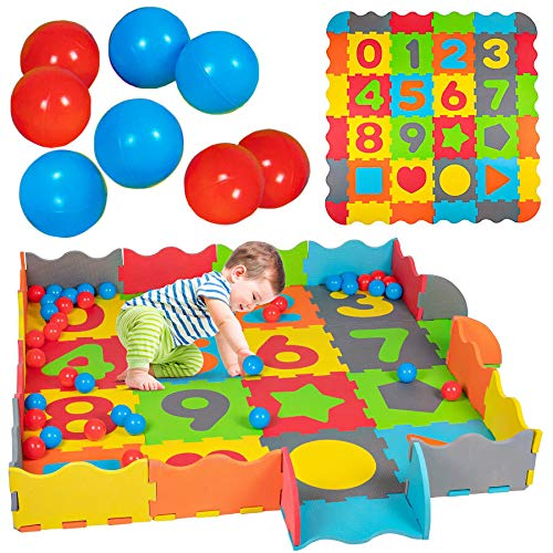 93-teilig Baby Puzzlematte mit Rand Bällen Spielmatte Spielteppich Krabbelmatte Puzzleteppich Bällebad Schaumstoff Bodenpuzzle Puzzle Kinder bunt Symbole & Zahlen