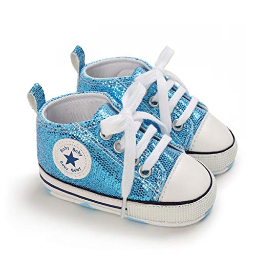 DEBAIJIA Bebé Primeros Pasos Zapatos 0-6M Niños Suave Suela Antideslizante Ligero Slip-on Zapatillas 17 EU Azul (Tamaño Etiqueta-1)