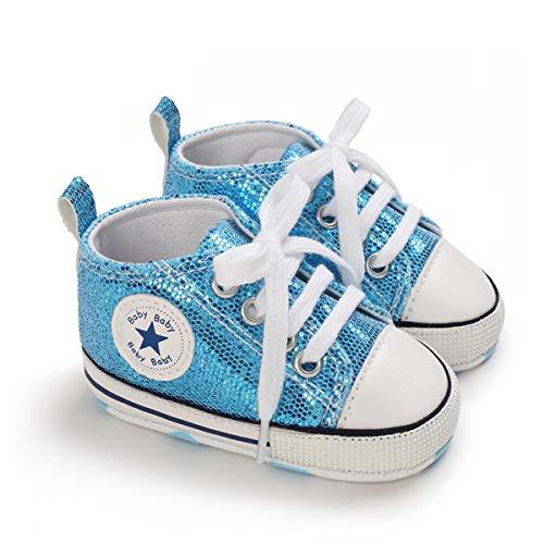 DEBAIJIA Bebé Primeros Pasos Zapatos 6-12M Niños Suave Suela Antideslizante Ligero Slip-on Zapatillas 18 EU Azul (Tamaño Etiqueta-2)