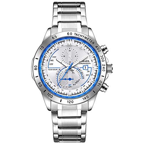 JTTM Herren Uhr Männer Chronographen Gold Edelstahl Wasserdicht Designer Armbanduhren Mann Silber Großes Leuchtende Analog Datum Business Uhren,Silver Blue
