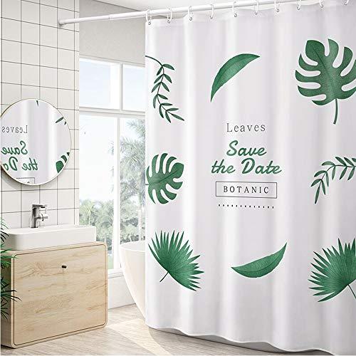 Peng Sounder-hm Duschvorhänge Datenschutz Duschvorhang verdicken Tropical Blätter Druck Badvorhang for Badezimmer Wasserdichtes Duschvorhänge für Badezimmer (Farbe : Weiß, Größe : 150x180cm)