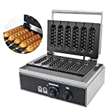 CGOLDENWALL Commercial Electric French Muffin Machine Non-Stick 6pcs Hot Dog Corn Shape Lolly Wafer Waffle Stick Makers Temperature Range 50-300 ℃ Timer 0-5 min