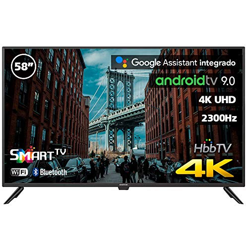 INFINITON INTV-58MA1300 – Televisor Smart TV 58' 4K UHD – Android 9.0 Google – HBBTV – 4X HDMI – 3X USB - DVB-T2/C/S2 - Modo Hotel – Clase A+