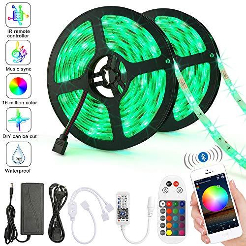 Bluetooth LED Licht Streifen 10M RGB IP65 Wasserfestes LED Stripes mit Smart Bluetooth Kontroller+24Tasten Fernbedienung, Mehrfarben-LED -Lichtstreifen Netzteil für für Zuhause, Schlafzimmer