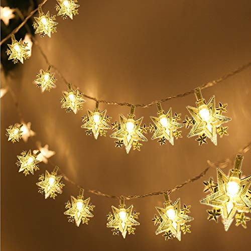 Christmas Lights, VIKASI Star String Lights for Bedroom, Christmas Tree, Home, Party, Wedding, Garden, 19.7 ft 40 LED Battery Operated Waterproof Fairy lights With Two Modes (Warm White)