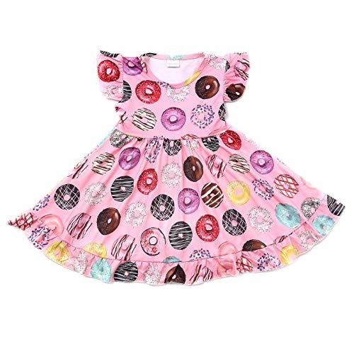 N+A Toddler Baby Girls Doughnut Print Twirl Dress Donnut Sleepwear Casual Dresses 6 Years Pink