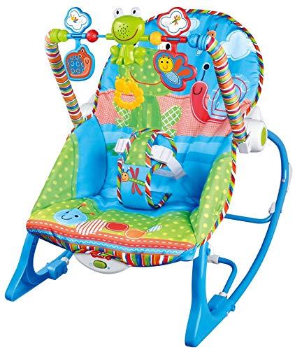 MamaLoes Eco Toys Blue Frog Babywippe bis 18 kg mit Vibration und Spielbogen, blau HC305580