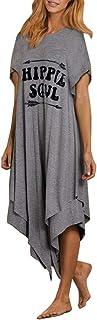 Sceoyche Women Letters Printing Tank Top Dress Short Sleeve O Neck Casual Dress