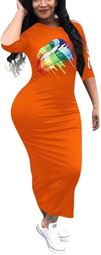 Jersey Dresses for Women - Cute Rainbow Lip Print Half Sleeve Tunic Bodycon Pencil Midi Dress