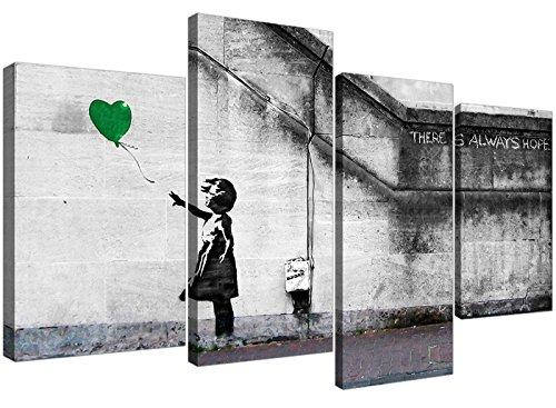 Wallfillers 4222 - Lienzo decorativo con imagen de niña de globos de Banksy en verde para tu sala de estar