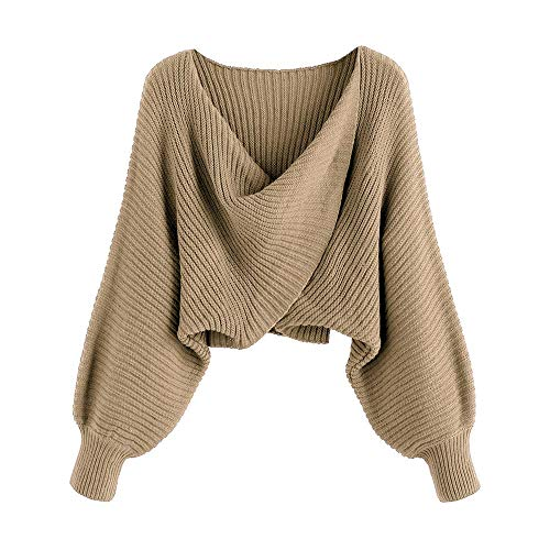 ZAFUL Women's V-Neck Asymmetric Twist Pullover Crop Knitted Sweater Jumper (Light Khaki, S)