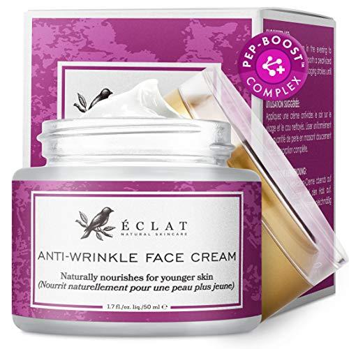 Crème visage anti-rides par Eclat – Formule anti-rides puissante à base d'acide hyaluronique, matrixyl 3000 et peptide de cuivre bleu pour une crème anti-rides efficace