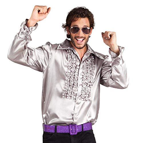 Boland 02169 - Disco Hemd mit Rüschen, Silber, Größe XXL/58-60, für Herren, Kostüm, Party Shirt, Schlagermove, 70er Jahre, Mottoparty, Karneval