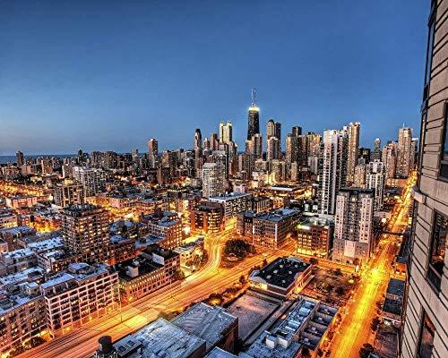 Kxch Malen nach Zahlen für Erwachsene Chicago City Wolkenkratzer Leinwand Malvorlagen Moderne DIY-Kits Kunstraum Einzigartiges Dekor Geschenk Rahmenlos 40X50Cm