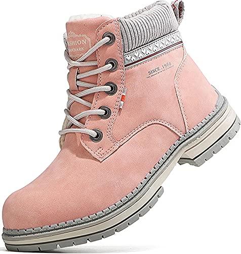 GILKUO Botas Mujer Invierno Botines de Nieve Forradas Forro Calientes Cordones Zapatos Montaña Senderismo Antideslizante Rosa 38 EU