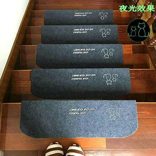 ZQJ Kleberfreies selbstklebendes Stufentreppenmattenstufenmattgraues Kätzchen (Leuchtend) _75cm * 24cm + 4cm Für attraktive & sichere Treppenstufen , robuste Allzweck-Matten für Stufen