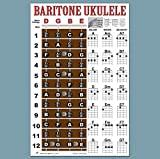 Laminated Baritone Ukulele Fretboard Notes & Easy Beginner Chord Chart 11'x17' Instructional Poster for Bari Uke by A New Song Music