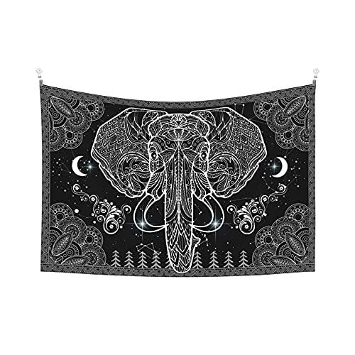Tapiz estético para dormitorio, decoración bohemia, para colgar en la pared, diseño de elefante, luna, estrellas, negro, blanco, 60 x 40 pulgadas