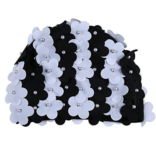 Moresave mujeres sombrero de natacin de la mano artificial perla flor ptalos de gorro de bao Piscina Swim Sombrero,...