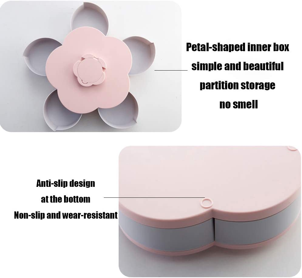 Plastic Petal Rotating Snack Box Dried Fruits Storage Container for Party Home Wedding Candy Tray,Coral Powder Candy and Nut Serving Platter