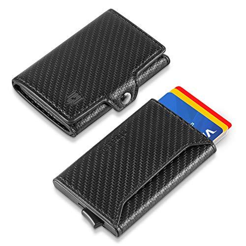 Portemonnaie Klein Kreditkartenetui Mini Männer Geldbeutel RFID Geldbörse Geschenk für Mann aus 1 Trifold Brieftasche und 1 Aluminium Kartenetui (2 in 1 Design), für 8-12 Karten, mit Münzfach(Carbon)