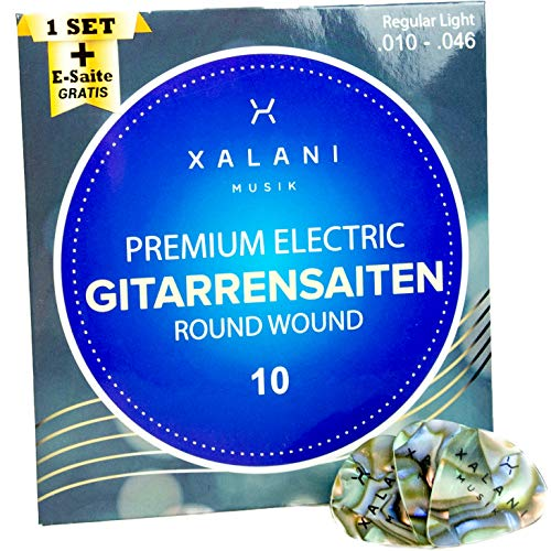 XALANI E-Gitarren-Saiten 010 I Bonus: 1 hohe E-Saite und 3 Plektren gratis I Gitarrensaiten Nickel