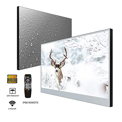 Elecsung 32inch Smart Mirror TV for Bathroom IP66 Waterproof Android System with Integrated HDTV(ATSC) Tuner and Built-in Wi-Fi