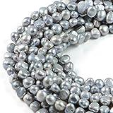 Perlas de perlas de agua dulce auténticas cultivadas 7-8mm patata gris 14 pulgadas perlas para la fabricación de joyas - AqBeadsUk