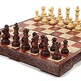 チェス マグネット 木製風 アンティーク ボードを折りたたむと収納可能 【日本語説明書付き】 (Mサイズ)