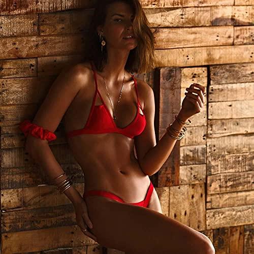 ZZLHHD Bikini Mujer Conjunto Sexy Cuello en V,Traje de baño Sexy de Color Puro, Bikini con Correa Dividida-Red_M,Sexy Mujer Verano Bañador Retro Cintura Alta