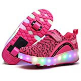 LED Iluminado Zapatillas con Ruedas Zapatillas Deportivas LED para Niños Unisex Niños Niñas LED Luz Flash Zapatos de Roller, Zapatillas con Ruedas con USB Recargable Retirable Ruedas Patines Aire L