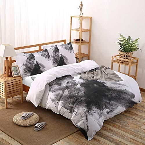 Olivefox Queen Duvet Cover Set Rock Ink Painting Comforter Cover Set Include Duvet Cover Bed Sheet and Pillow Shams, Soft Lightweight Breathable Bedding Set for Women/Man/Teen/Children