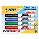 Bic Great Erase Grip Dry Erase Marker, Chisel Tip, Black/Blue/Green/Red Ink, 4/Set