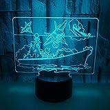 Luz de noche 3d LED 3D USB de alta calidad Crucero Barco Lámpara multicolor Dormitorio Luz de noche Cable de iluminación Regalo Regalo Fiesta en el hogar Vida decorativa