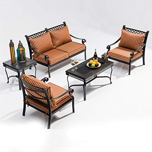 DNNAL Conjuntos de Muebles de Porche del Patio, Conjunto de Mesa y Silla al Aire Libre. Sofá Set Outdoor Courtyard Garden Balcón Muebles de Hierro Forjado Mesa de Centro