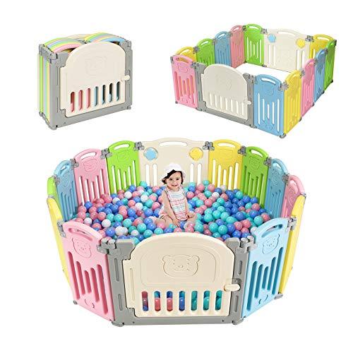 DREAMADE 14 Pezzi Barriera di Sicurezza Box Recinto per Bambini Recinzione Antisciovolo con Sicurezza (Colorato)